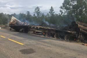 Se incendia plataforma de tráiler con madera en carretera a Las Varas - laparadadigital